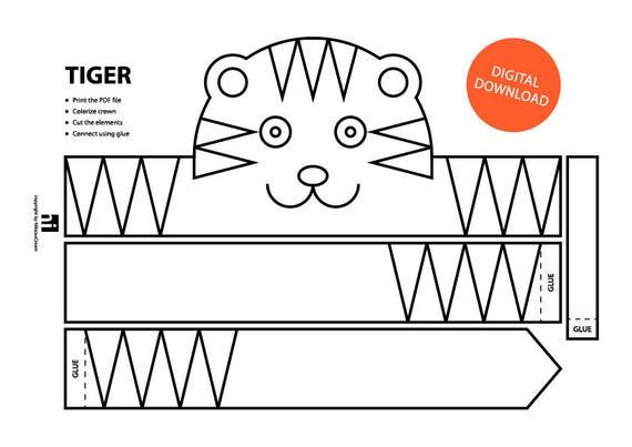Tiger Paper Crown - Printable | Coloring Crown | Coloring Face ...
