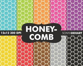 80% OFF SALE Honeycomb Digital, Honeycomb Paper, Honeycomb Patterns, Paper Honeycomb, Digital Papers, Hexagon Patterns, Hexagon Papers