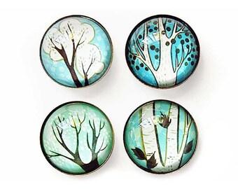 winter decor, Blue tree art magnets, fridge magnet set, glass magnets, turquoise blue, nature decor, refrigerator magnet