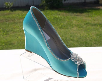 Size 8 1/2 Aqua Blue Satin Wedge Shoes Ready to ship, Peep Toe Satin Heels, Wedding Shoes, Bridal Heels, Prom shoes, Mother of the Bride