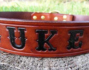 Leather Name Dog Collar, Engraved Dog Collar, Personalized Leather Dog Collar, Large Dog Collar, Medium Dog Collar