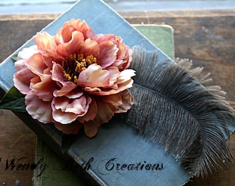 Anatural Hair Clip Fascinator - Wedding, Prom, Steampunk, Belly Dance, Burlesque, Pink, Ostrich Feather