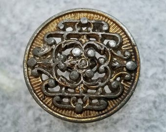 Ornate Pierced Openwork Pewter Button ~ Gold Wash or Painted Background ~ Pewter Metal Sewing Button ~ just over 11/16 inch 18mm