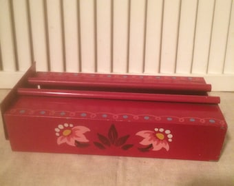 Fresh Picks from Canada,  Hand Painted Tissue Box Holders, 1 Red and 1 Yellow