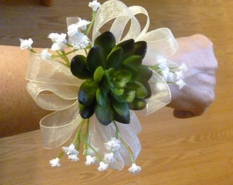 Succulent wrist corsage, echeveria corsage with baby's breath