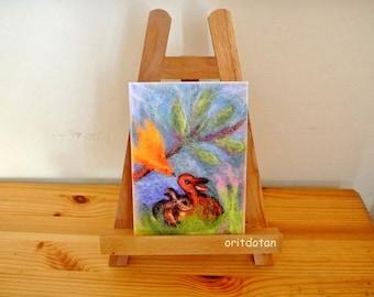 Bunnies and bird friendship, SMALL PRINT, childen's art, nursery art, wall decoration, Waldorf education arts, fiber arts