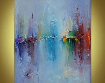 Art Painting - Abstract Painting, Original Oil Painting, Abstract Canvas Art, Sailboats Painting, Wall Art, Modern Art, Abstract Wall Art
