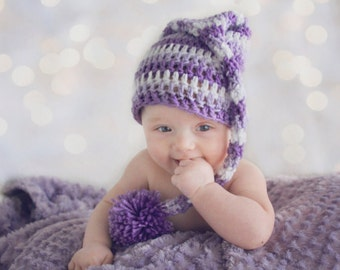 Crochet Baby Hat  Pixie Purple Orchid striped Photo Prop Newborn Infant Child