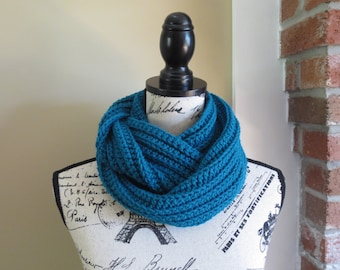 Teal Crocheted Ribbed Infinity Scarf