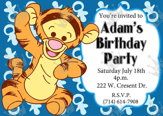 Baby Tiger Birthday Party Invitation Print Home DIY In