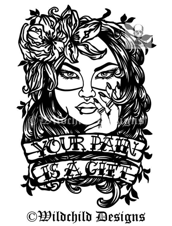 Your pain is a gift paper cutting template personal use