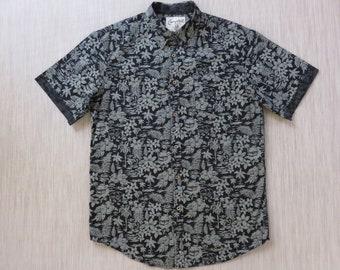 Hawaiian Shirt COASTAL California Surfer Shirt VW Beetle Tag Black Tropical Print Aloha Shirt 100% Cotton Men - XL - Oahu Lew's Shirt Shack