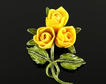 Vintage Rose Brooch Pin Yellow Roses Bouquet Plastic Enamel over Metal 1950s