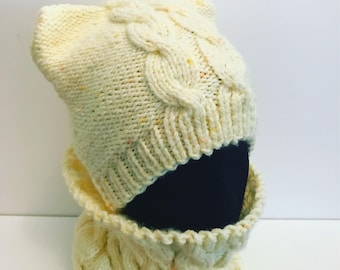 Yellow Cat ears hat and cowl winter set