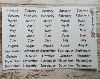 Black Monthly Header Planner Stickers