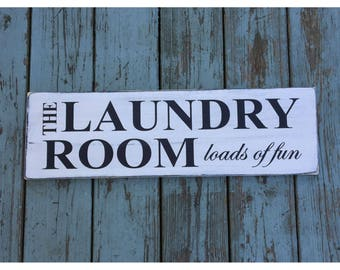 """Laundry Room Loads of Fun Rustic Farmhouse Style Handmade Real Wooden Sign Wall Art Distressed Plaque Home Decor  7.25""""x 24"""""""
