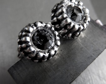 SALE - Unisex Black Night Swarovski Crystal Urchin Earrings, Dark Charcoal Grey Crystal, Small Silver Stud Post Earrings for Men or Women