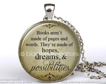 Bookworm Quotation Necklace -  Handmade