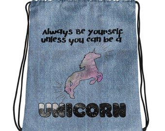 Be A Unicorn Drawstring bag