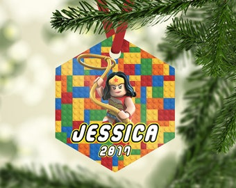 Lego Ornament, Mixed Blocks, Holiday Ornament, Kids Gift, Personalized Kids Ornament, Personalized Ornament, LEGO Movie Wonder Woman