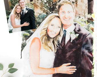 "Watercolor Wedding Portrait from photo- 16"" x 20"" original watercolor painting from your wedding photo - great anniversary gift"