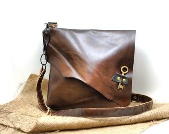 Asymmetrical Leather Bag Slouchy Leather Messenger Hobo Leather Satchel with Antique Skeleton Key Pirate Bag everyday satchel