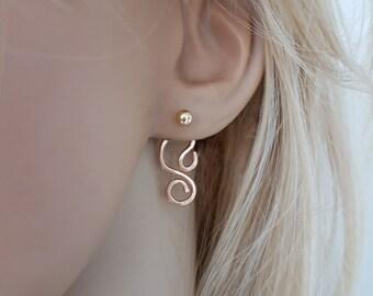 Hammered earrings gold filled, Ear jacket earrings, Double sided earrings
