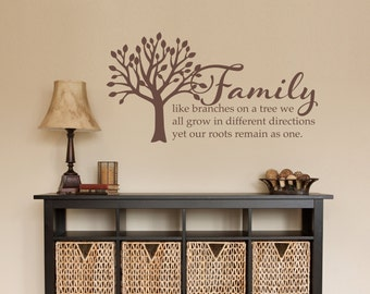 Family Tree Decal - Family like branches on a tree Wall Quote - Medium Wall Sticker
