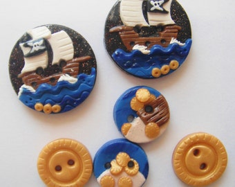 Button Yoho Pirate Ship handmade polymer clay buttons  ( 6 )