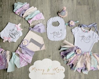 """The """"Winter Sofia"""" Collection. Pink, purple and silver 1st birthday,Tutu,Cake Smash,First Birthday Girl,Birthday Outfit,High Chair Banner"""
