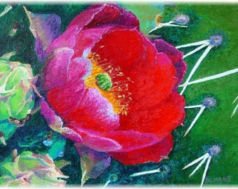Prickly Pear Cactus In Bloom Oil on Canvas
