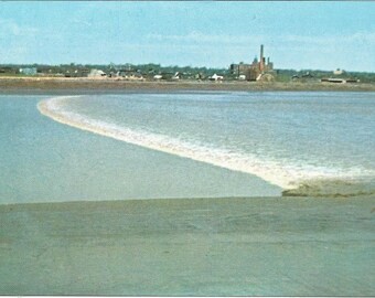 Vintage 1950s Tidal Bore Moncton New Brunswick NB Canada Ocean Tides Seaside Scenic View Atlantic Maritimes Photochrome Postally Unused