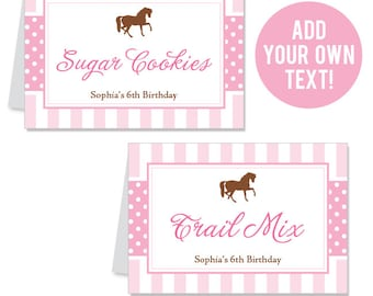 EDITABLE INSTANT DOWNLOAD Pony Party / Horse Party Buffet Cards - Editable, printable table tent cards
