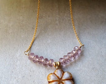 Beaded Flower Necklace, White Flower Czech Bead, Purple Lilac Glass Beads, Delicate 14K Gold Filled Chain, Bar Necklace, Unique Gift for Her