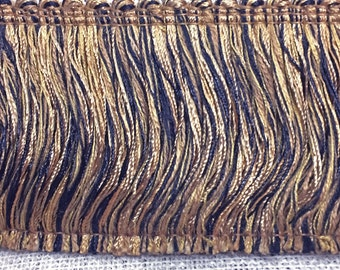 Golden Brown Brush Fringe - Earth-tone Variegated Brush Fringe -  Long Brush Trim - Pillow Trim - Designer Trim  - Brown Trim  7909