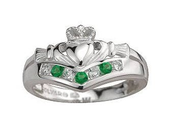 Multi Stone Silver Claddagh Ring