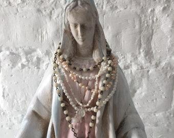 Virgin Mary Statue / Decor / Religous Statue / Madonna Statue / Catholic Statue / Mother Mary Statue / Religous Decor /Rosary / 19 Century