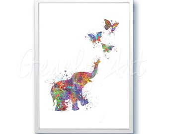 Baby Elephant chasing Butterflies Watercolor Art Print - Elephant Watercolor Art Painting - Kids Nursery Decor - House Warming Gift