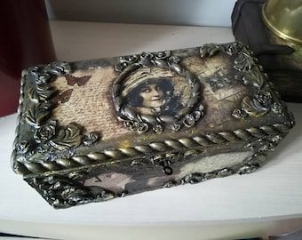 SOLD Decoupage solid wooden box