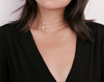 Dainty Layered Pearl Choker Gold Necklace - Tiny Pearl Necklace - Delicate Chain Choker Necklace