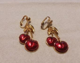 Vintage Avon Clip on Cherry Earrings