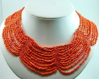 A Vintage Orange  Glass Beaded Bib Necklace - 126V