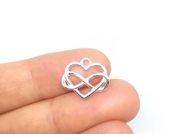 Sterling Silver Heart Charm with Infinity Symbol, Heart Infinity Pendant, 925 Heart Infinity Charm