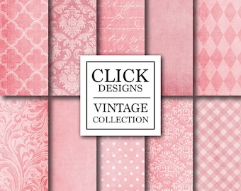 "Pink Digital Paper: ""PINK TEXTURES"" textured digital papers in pink damask, flourish patterns for scrapbooking, invites, carts, crafts"