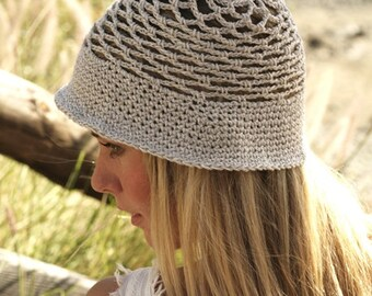 Bucket hat women Sun hat Summer hat Cotton hat Crochet hat Beige lace hat Beach hat Hemp hat Brim hat Spring hat Straw hat