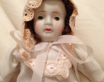 Vintage Porcelain China Baby Doll With Original Clothing