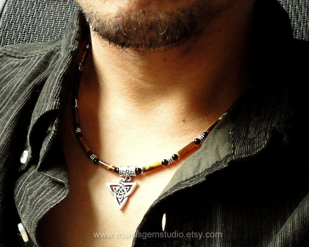 Tiger Eye Black Onyx Necklace For Men Celtic Knot Triquetra