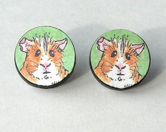 guniea pig earrings, guinea pig earrings studs, guinea pig earrings cute, cavy earrings, GUINEA PIG, sterlng silver post and butterfly