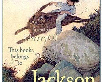Hold Tight Billy - Boy riding Rabbit - ADHESIVE Bookplate -  Personalized Bookplate - Vintage Art Bookplate - Stickers