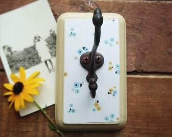 Rustic Floral Wall Hook, Cottage Chic Wall Hanger, Country Farmhouse Organizer, Blue and Yellow Home Decor